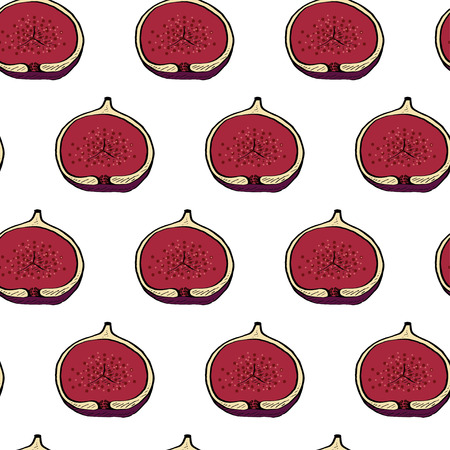 Calligraphy fig vector seamless natural pattern for web, craft, textile, branding