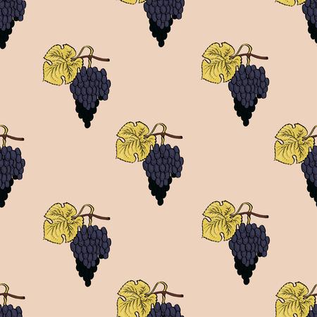 Grape seamless calligraphy coloured vector pattern for t-shirt, bag, mug, branding, web? textile, wrapping, fabric