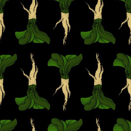 Horseradish vector original coloured pathless black pattern for web, textile, branding, t-shirts, cards, craft