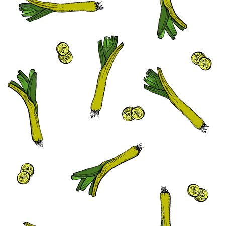 Vector Leeks original seamless pattern for branding,  wrapping, decor, craft, textile, fabric