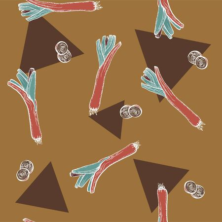 Vector Leeks and triangles brown original seamless pattern  for branding,  wrapping, decor, craft, textile, fabric 向量圖像