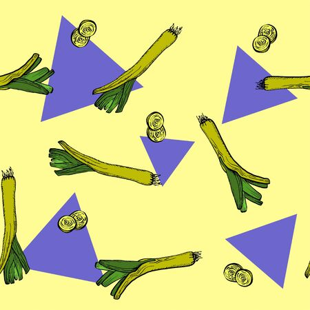 Vector Leeks and triangles yellow original seamless pattern for branding,  wrapping, decor, craft, textile, fabric