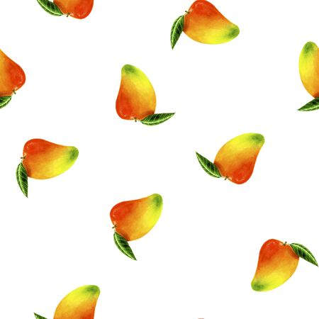 Watercolour mango pattern on black background for branding, wrapping, craft, textile, fabric 版權商用圖片