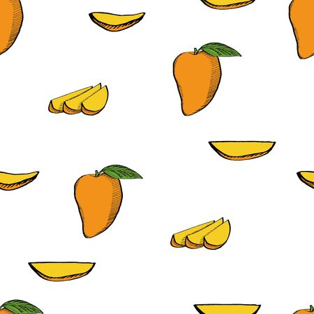 Calligraphy mango with slices on white background pattern for wrapping, craft, textile, fabric, branding 向量圖像