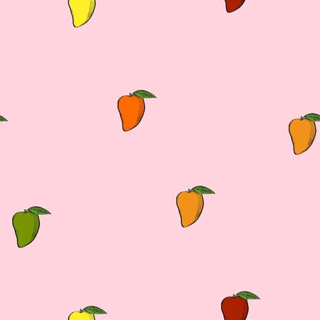 Calligraphy mango on pink background pattern for wrapping, craft, textile, fabric, branding 向量圖像