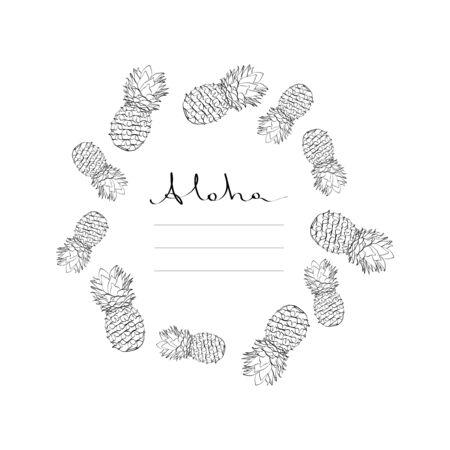 Calligraphy pineapple vector frame black on white 向量圖像