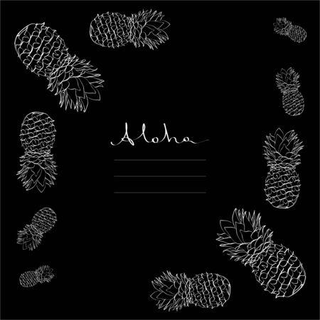Calligraphy pineapple vector frame white on black