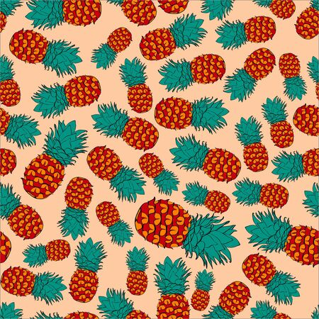 Ink coloured pineapple vector pattern on pink
