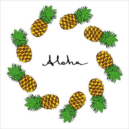 Ink vector coloured pineapple frame in original