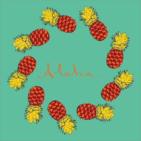 Ink coloured pineapple vector frame on blue