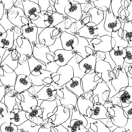 Ink vector path quince pattern black on white 向量圖像