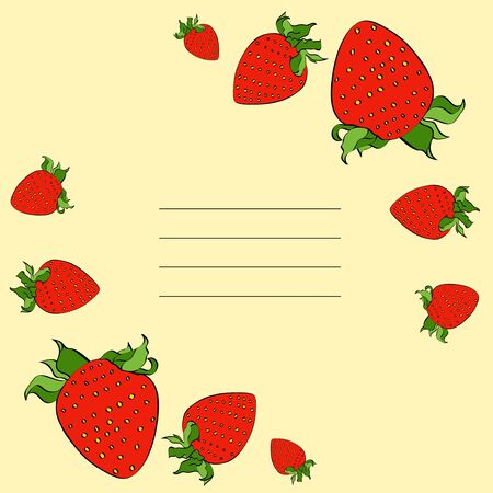 Vector strawberry colour ink frame for cards, banner, social