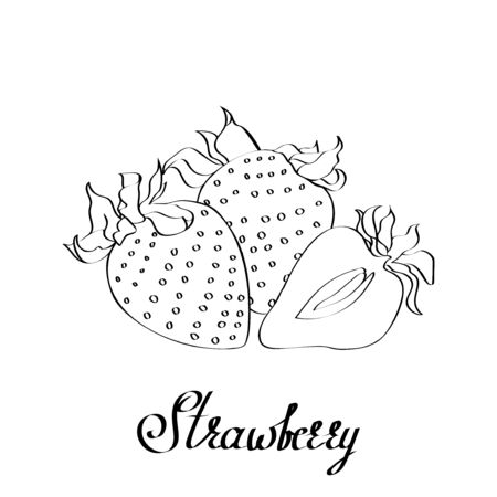 Vector path calligraphy original strawberry with type for poster, cards, branding, decor