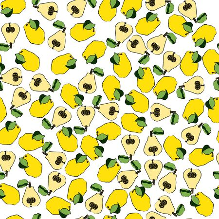 Ink vector original quince pattern on white