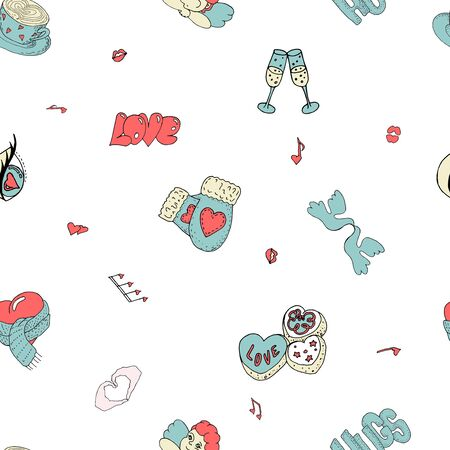 Valentine day Pattern with love and cute