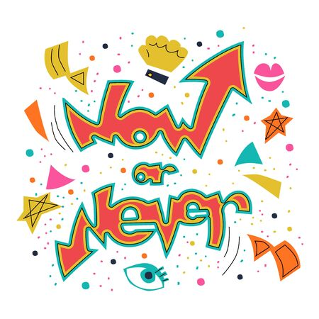 Now or never motivated graffiti covered wall Stock Illustratie