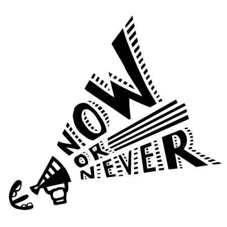 Now or never motivated graffiti covered wall 向量圖像
