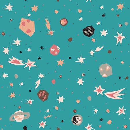 Space paper vector seamless pattern on blue