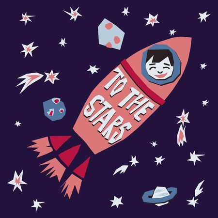To the stars text cutout space poster