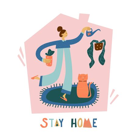 Stay home poster. Taking care of flowers