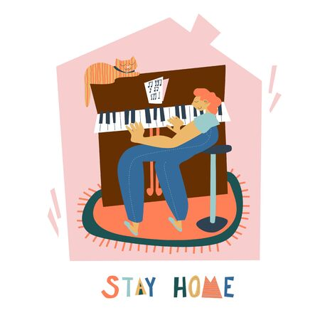 Stay home poster. Playing the piano at home