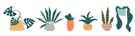Set of funny vector houseplant in line 向量圖像