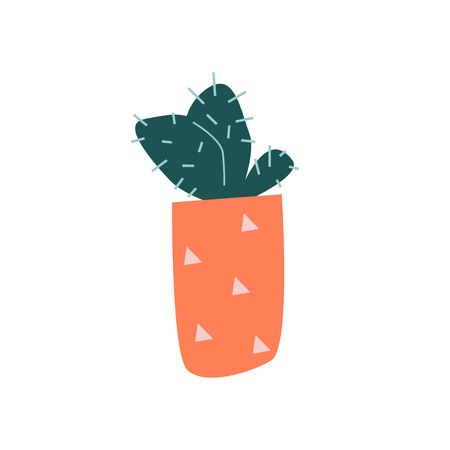 Funny cartoon flat vector cacti in pot