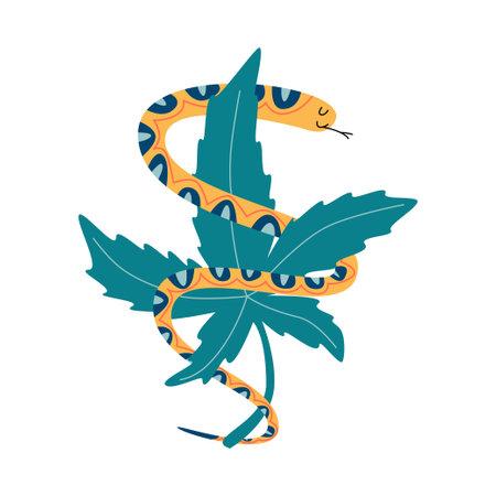 Snake with marijuana for cannabis company 向量圖像