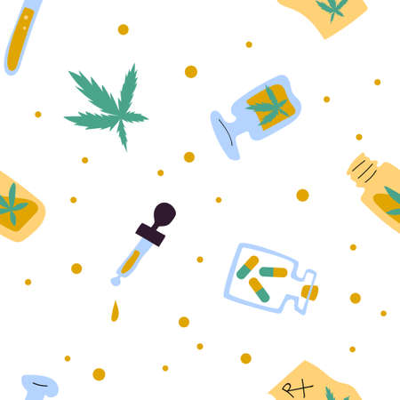 Medical cannabis seamless vector pattern on white 向量圖像