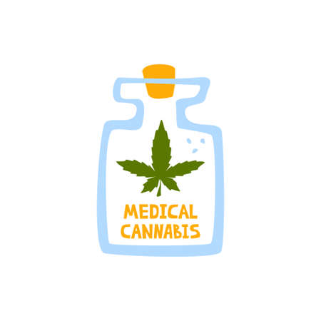 Glass with oil of medical cannabis lettering