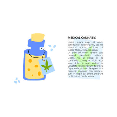 Medical cannabis in oil with article text 向量圖像