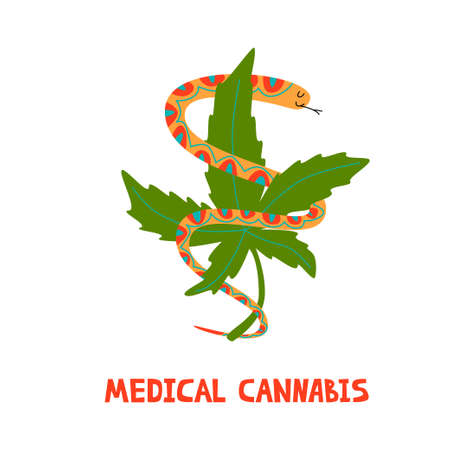 Snake with marijuana. Logo for medical cannabies