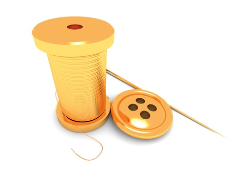 This is three gold objects  Thread, button and needl photo