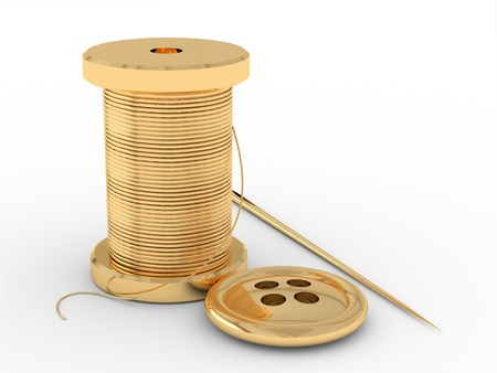 In the picture there are three gold object  Spool of thread, needle and button  Stock Photo - 13864204