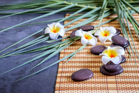 Spa background, branches of bamboo, white plumeria and ze stones balance. Spa massage and relaxation concept.