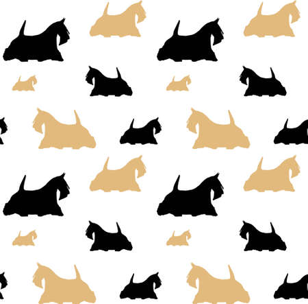 Scottish black and fawn seamless pattern