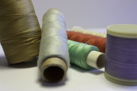 Thread and yarn at reels for sewing Banque d'images