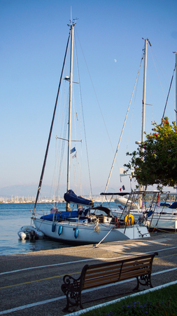 Beautiful sailboats in the port