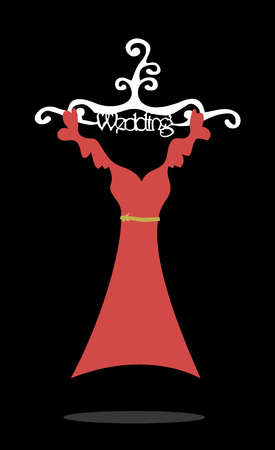 Wedding red dress on white hunger isolated on black.