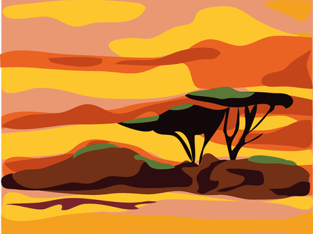 sunsets: African landscape with tree silhouette. Flat design Africa landscape.