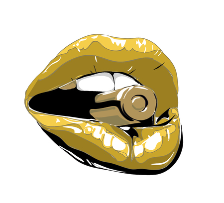 Sexy biting red lips. Abstract lipstick in the open mouth with gold metal bullet. Vector-  illustration.