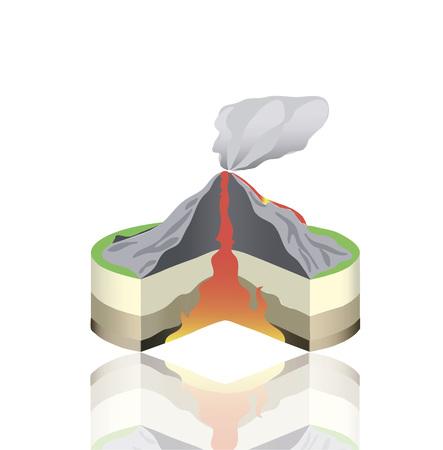 Sección aislada de la erupción del volcán aislada. Gráfico de información vectorial. Ilustración de vector de lava caliente.