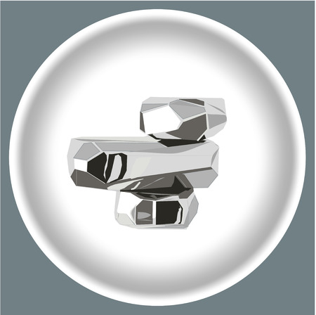 Icon Metal object on a white plate isolated on grey background. Illustration