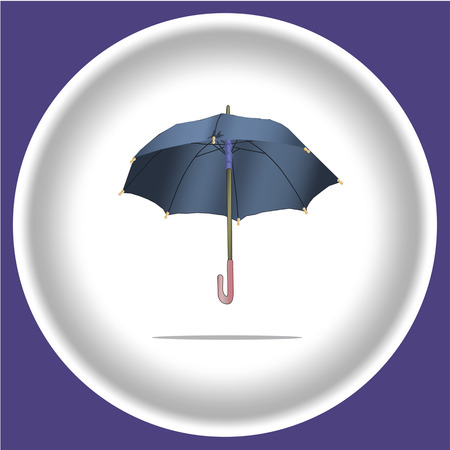icon with Umbrella on blue isolated. Vector illustration of open colored umbrellas. Only global colors. Easy color changes.
