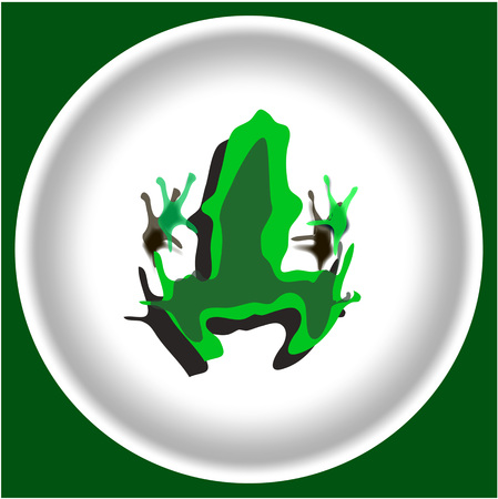 icon with green Frog silhouette isolated on white plate.