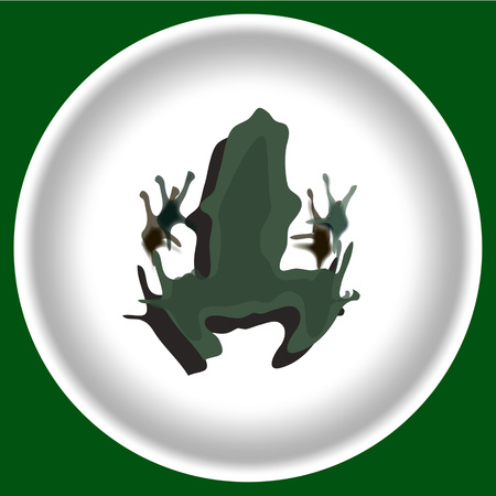 icon with dark green Frog silhouette isolated on white plate.