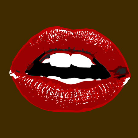 Lighted glamour red lips on dark red background.