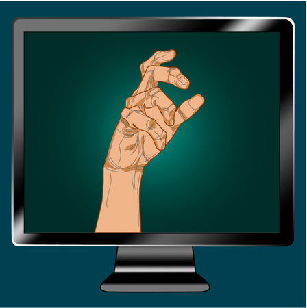 Icon tv show hand arm. Illustration