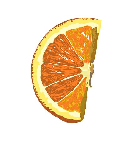 Share of natural orange isolated on white background.