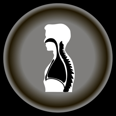 ide: Icon Human breathing on gray plate.